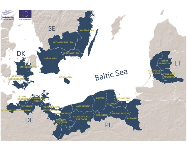 Map of the South Baltic region: parts of Poland, Lithuania, Germany, Sweden and Denmark.